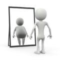 szczupła postać przeglądająca się w lustrze, a w odbiciu widać postać otyłą