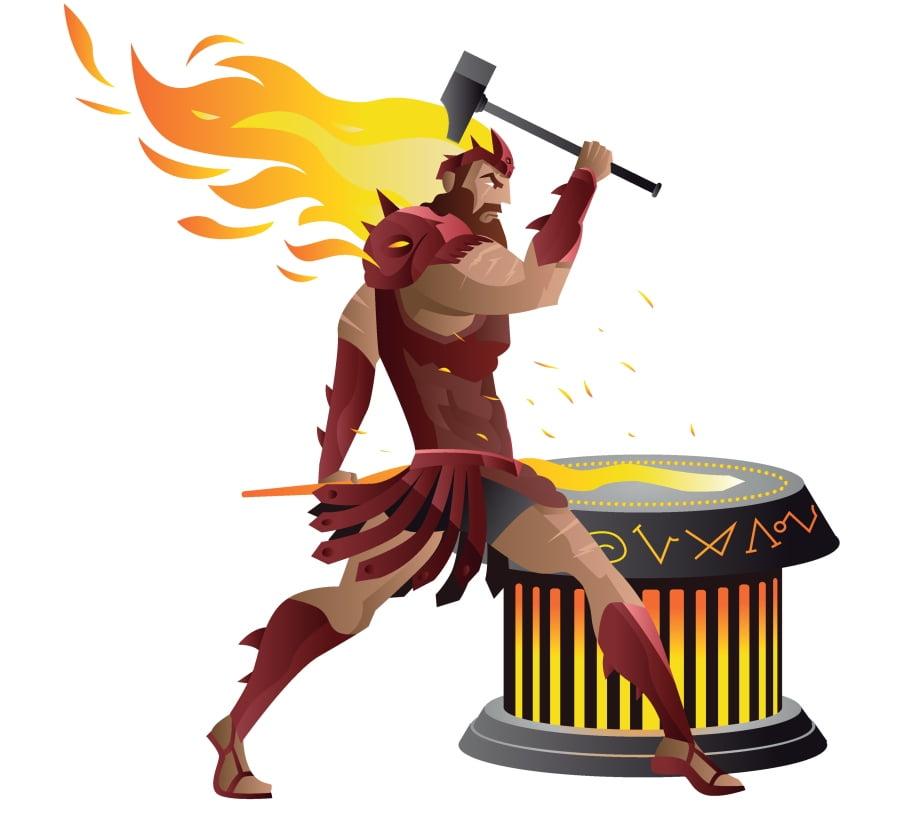 Hefajstos – grecki bóg ognia, kowali i innych rzemieślników