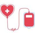 serce połączone z pojemnikiem na krew - symbol dawców krwi