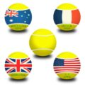 Piłeczki tenisowe z nazwami czterech turniejów wielkoszlemowych