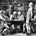 Oświecenie. Grupa mężczyzn w bibliotece. Zebranie literackie Diderot