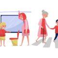 Normy społeczne - dziewczynka ustępująca miejsca kobiecie w ciąży, chłopiec pomagający osobie starszej